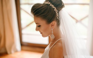 Brides morning. Side view of beautiful bride woman with make up